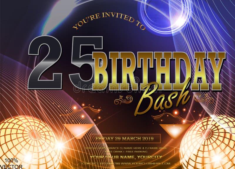 25 anni di logo di anniversario con fondo galattico variopinto illustrazione vettoriale