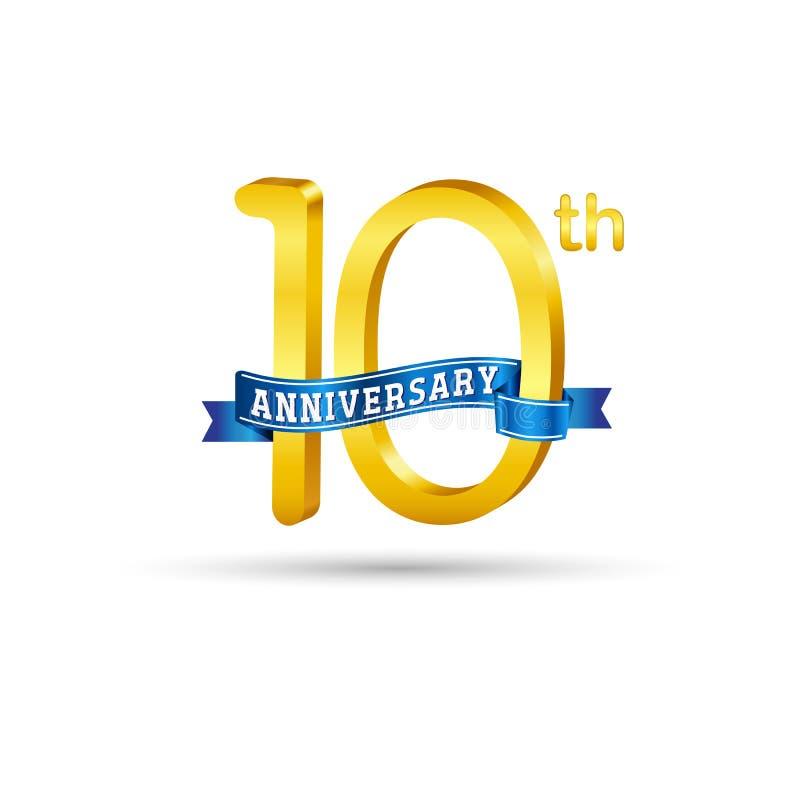 10 anni di logo di anniversario con il nastro blu royalty illustrazione gratis