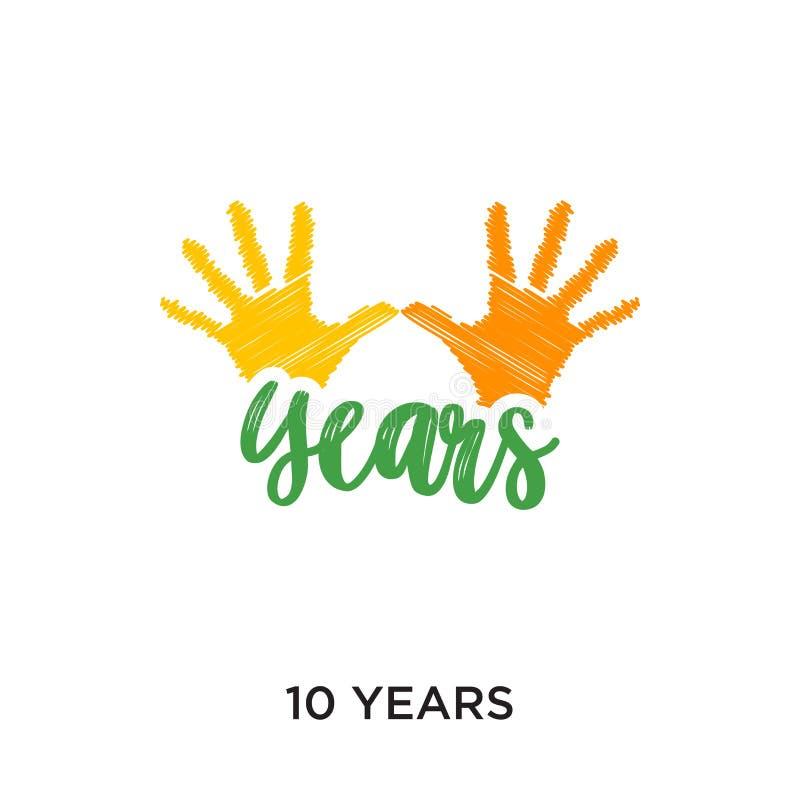 10 anni di logo isolato su fondo bianco per il vostro web, cellulare illustrazione di stock