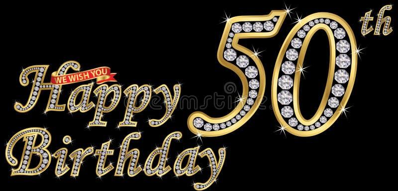 50 anni di segno dorato con i diamanti, illust di buon compleanno di vettore illustrazione di stock