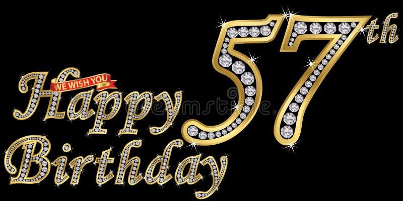 57 anni di segno dorato con i diamanti, illustrazione di buon compleanno di vettore illustrazione vettoriale