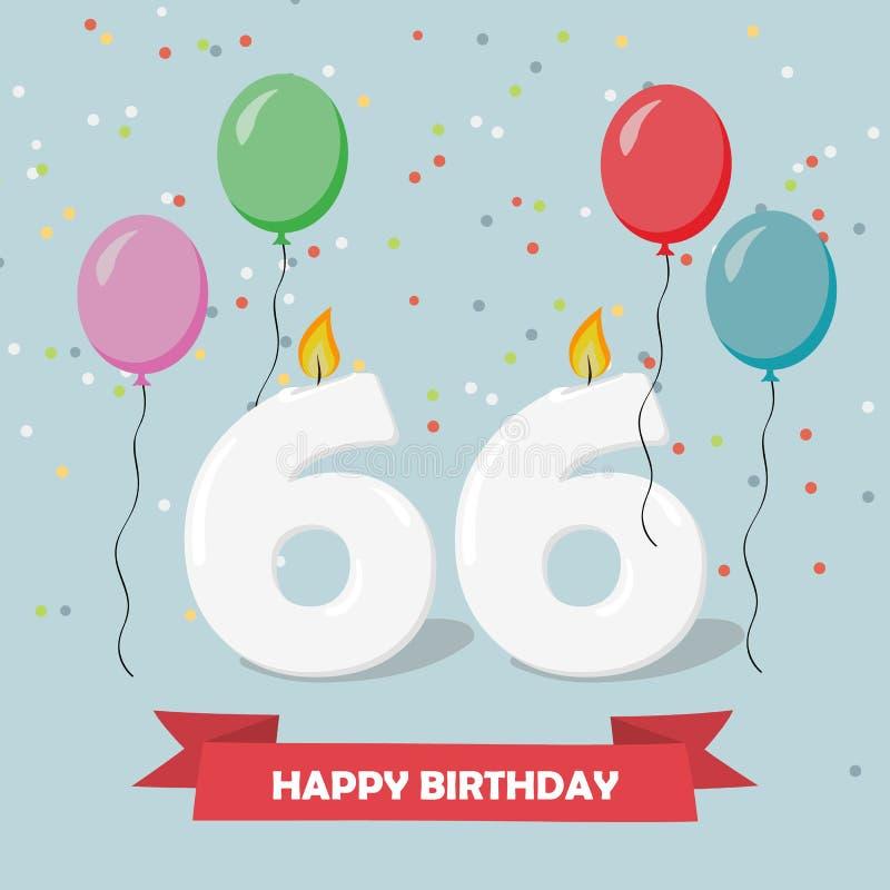 Auguri Buon Compleanno 66 Anni.66 Anni Di Selebration Cartolina D Auguri Di Buon Compleanno