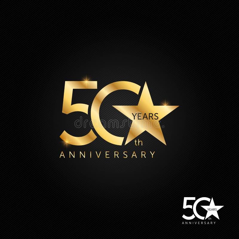 50 anni illustrazione di logo, dell'icona e di simbolo di vettore di anniversario illustrazione vettoriale