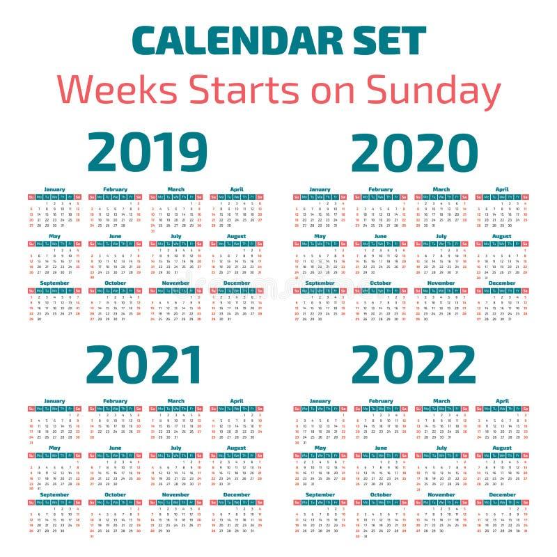 2019-2022 anni semplici di calendario royalty illustrazione gratis