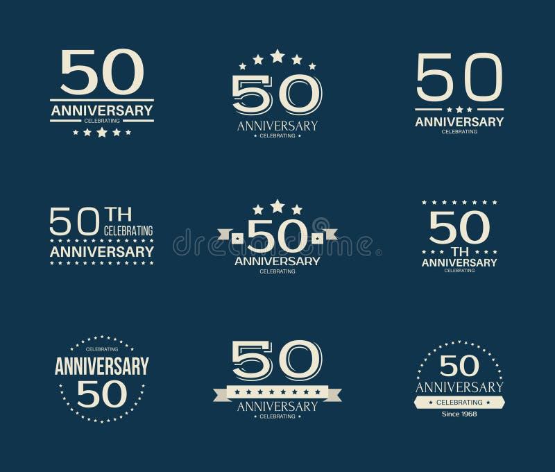 50 - anniversaire d'année célébrant le logotype cinquantième ensemble de logo d'anniversaire illustration de vecteur