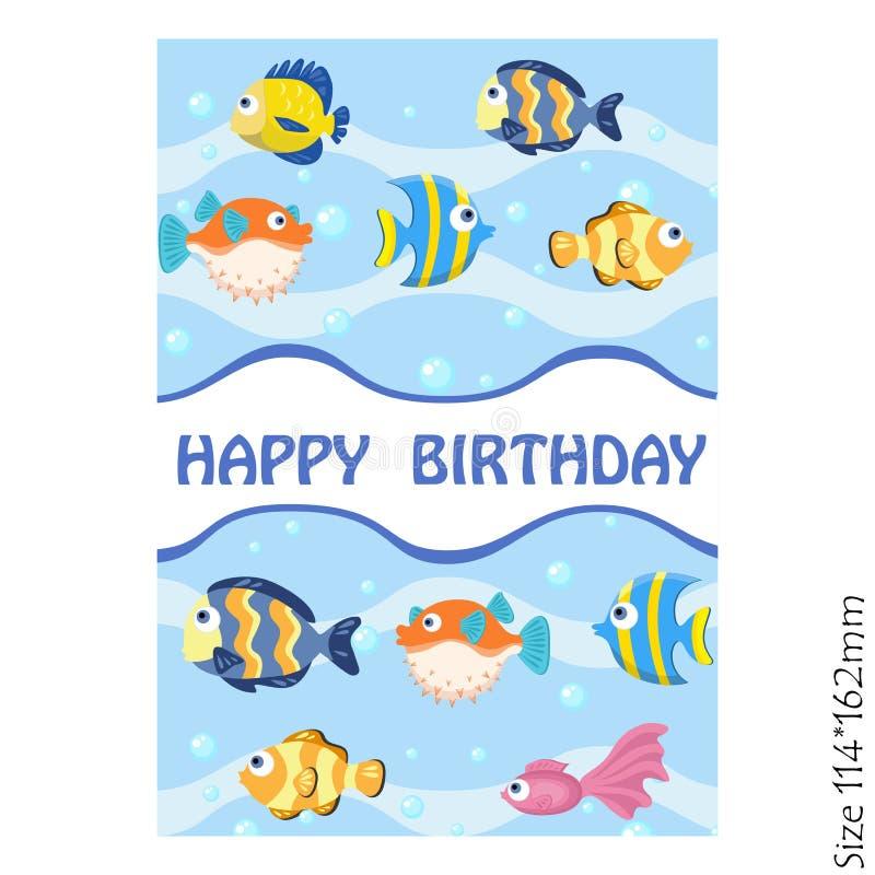 Anniversaire de carte de voeux joyeux avec les poissons colorés illustration libre de droits
