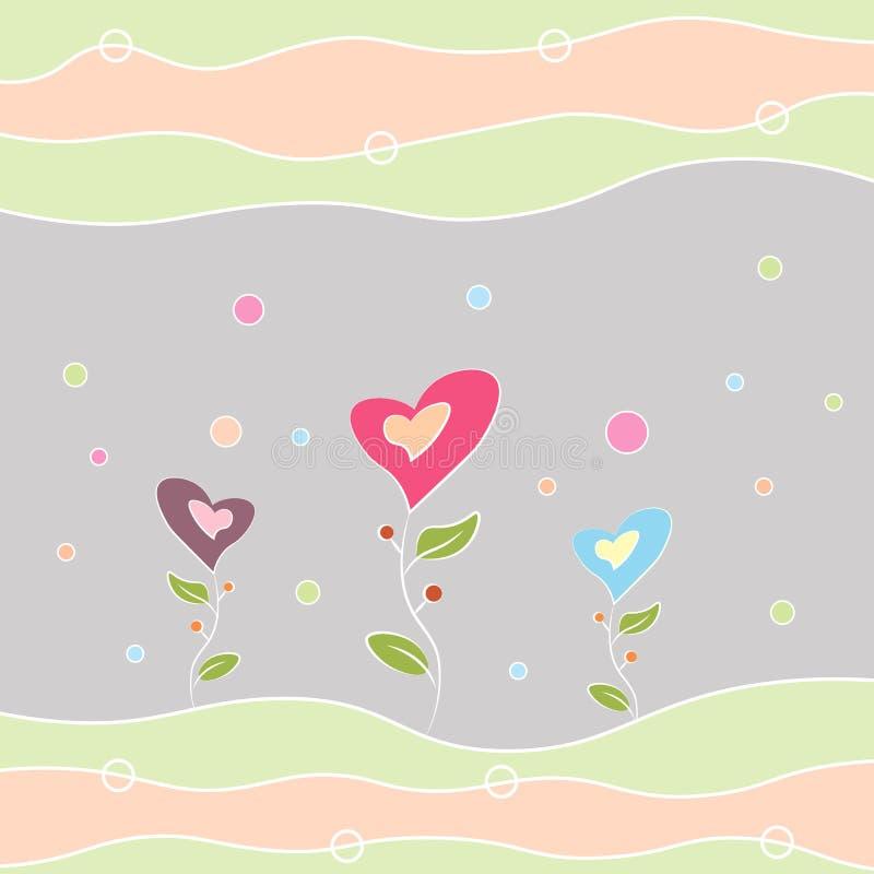 Anniversaire de carte de voeux joyeux, jour de Valentine s et d'autres fleurs multicolores de vacances sous forme de coeur illustration stock