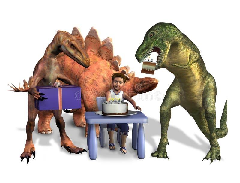 Anniversaire de dinosaur - avec le chemin de découpage illustration stock