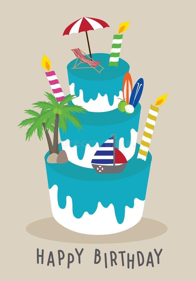 Anniversaire de gâteau de vecteur joyeux pour le voyageur, été de concept sur la plage illustration de vecteur
