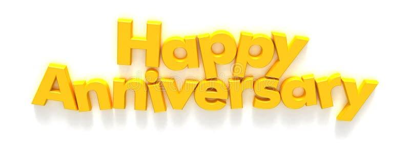 Anniversaire heureux dans des aimants jaunes de lettre illustration libre de droits