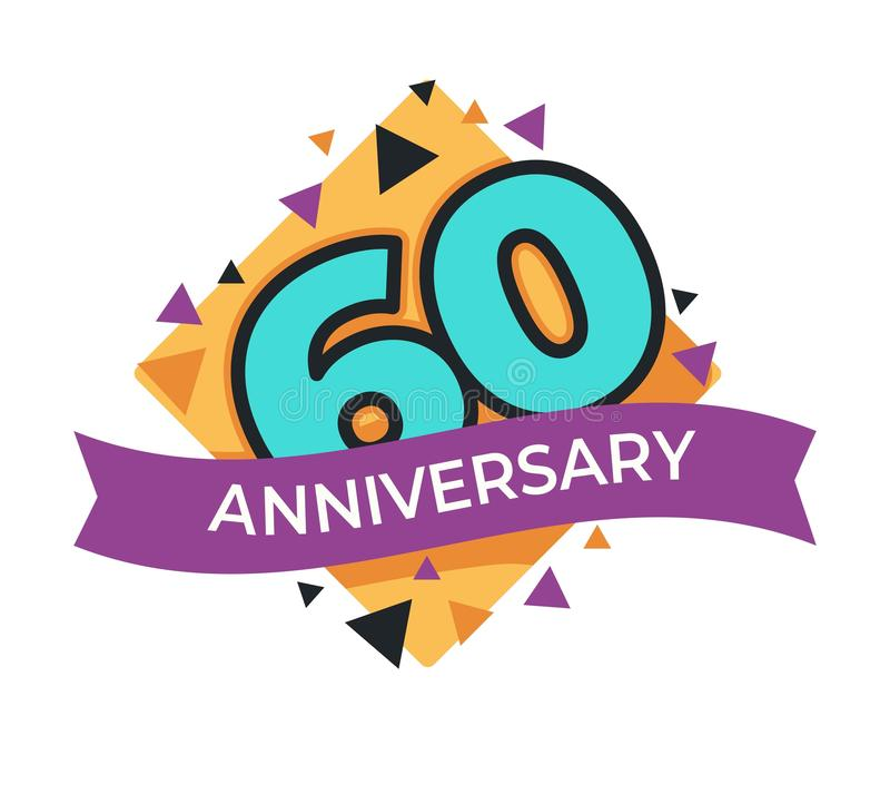 60 anniversaire ou célébration de fête d'icône d'isolement par anniversaire illustration libre de droits