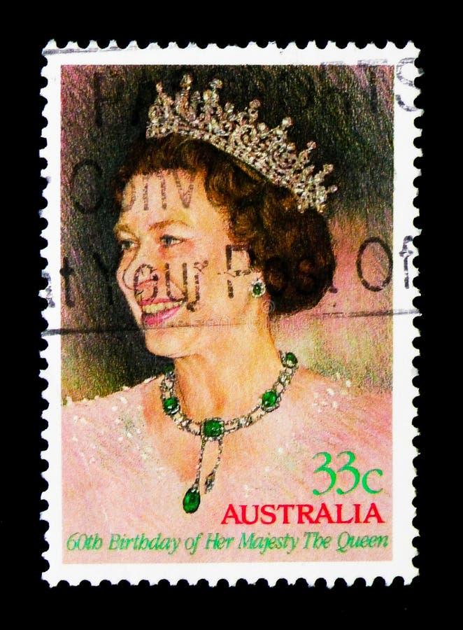 Anniversaire, serie de la Reine Elizabeth II, vers 1986 photographie stock libre de droits