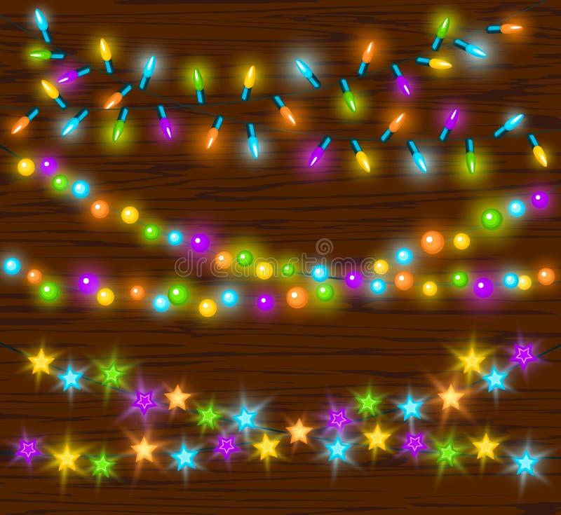 Anniversaires de nouvelles années de Noël de célébration et d'autres guirlandes menées colorées rougeoyantes de lampes d'ampoules illustration libre de droits