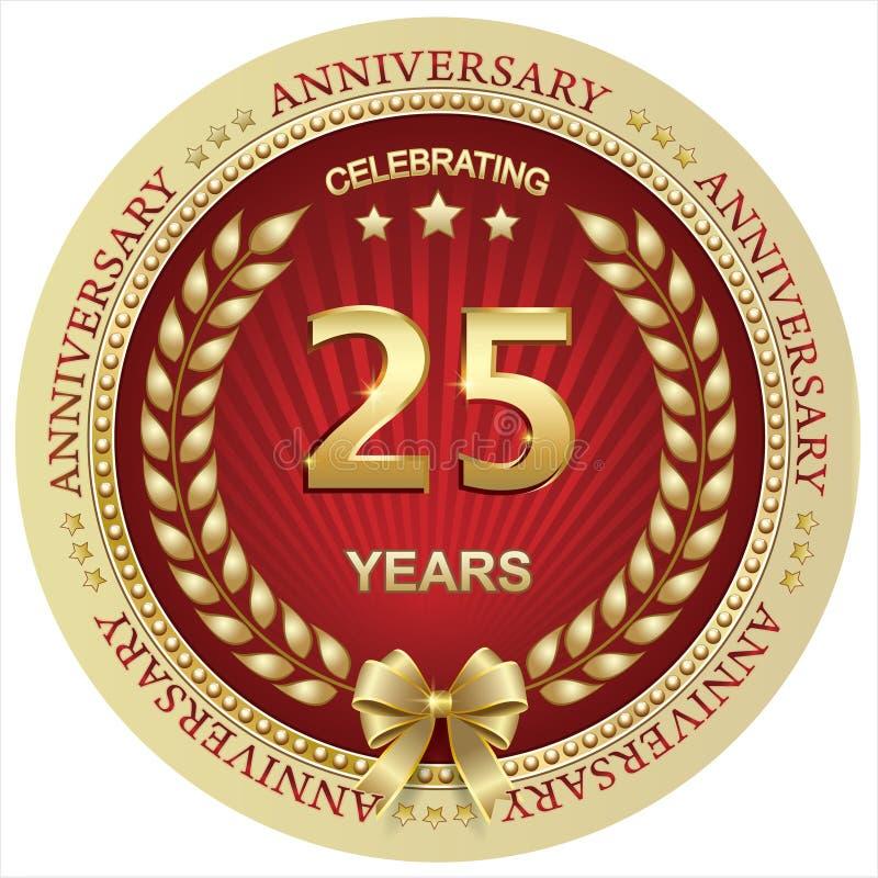Anniversario 25 anni, compleanno, fondo, celebrazione, cartolina d'auguri Illustrazione di vettore royalty illustrazione gratis