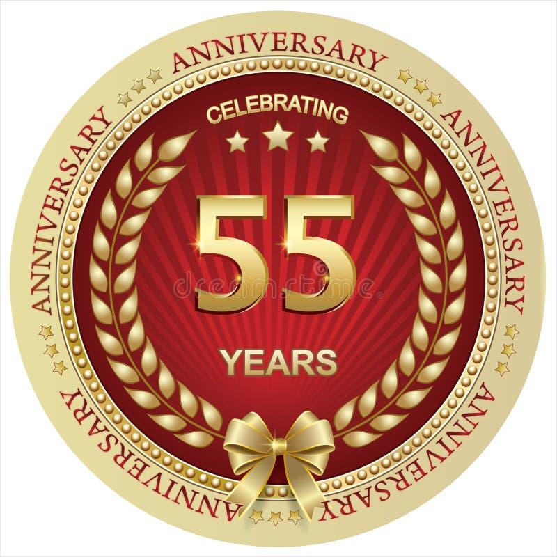 Anniversario 55 anni, compleanno, fondo, celebrazione, cartolina d'auguri Illustrazione di vettore illustrazione di stock