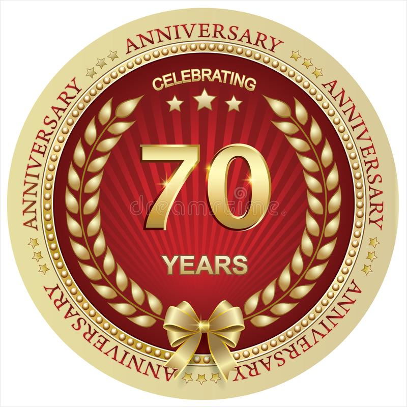 Anniversario 70 anni, compleanno, fondo, celebrazione, cartolina d'auguri Illustrazione di vettore royalty illustrazione gratis