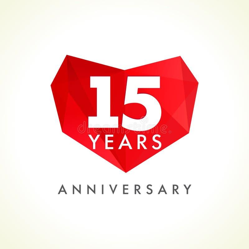 Anniversario 15 anni con cuore illustrazione di stock