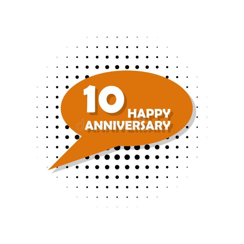 Anniversario, 10 anni di icona multicolore Può essere usato per il web, il logo, il app mobile, UI, UX royalty illustrazione gratis