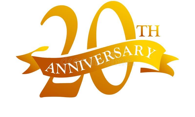 Anniversario del nastro da 20 anni illustrazione di stock