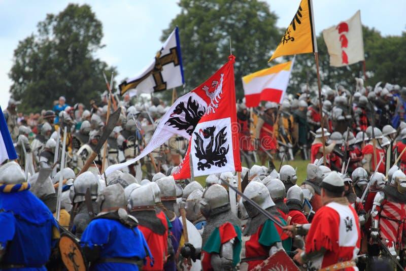 Anniversario della battaglia di rievocazione 1410 di Grunwald fotografia stock libera da diritti