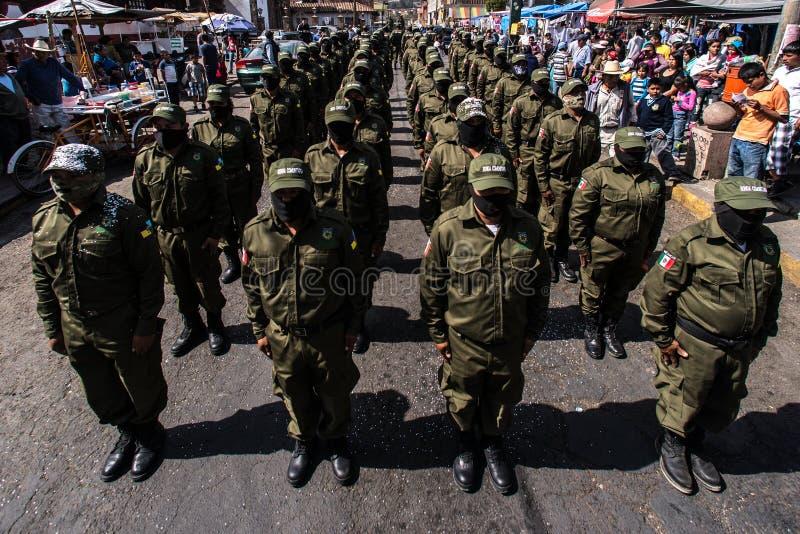 Anniversario della rivolta in Cheran, Messico immagine stock