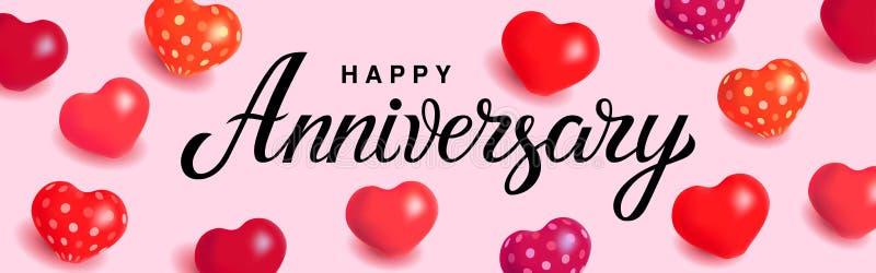 Anniversario felice - citazione disegnata a mano unica di festa su fondo rosa-chiaro con i palloni del cuore Tipografia scritta a illustrazione vettoriale