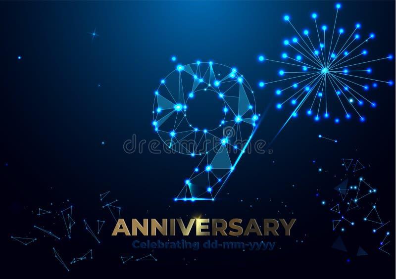 Anniversario 9 Insegna poligonale geometrica di saluto di anniversario numeri dell'oro 3d illustrazione di stock