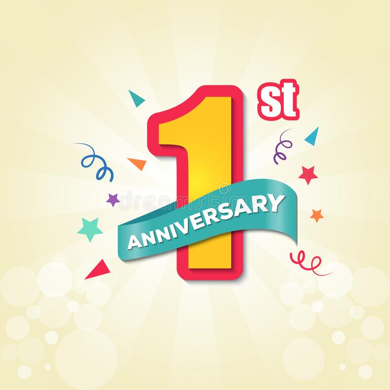 Colorful Anniversary emblems 1st anniversary template design - Vector royalty free illustration