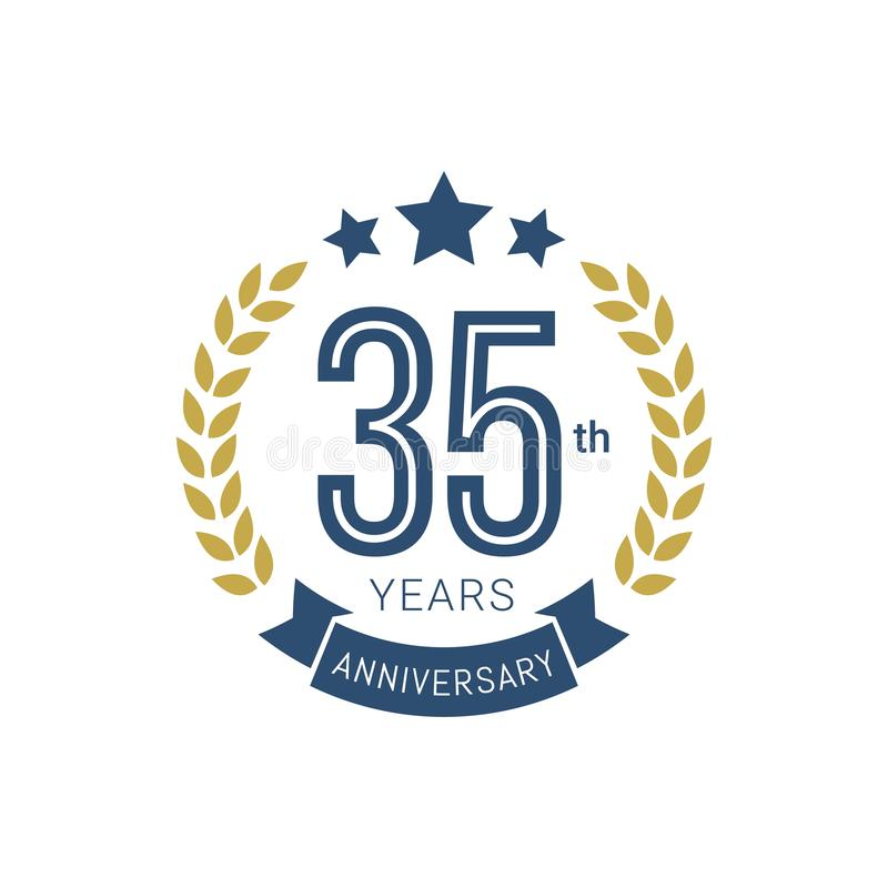 Anniversary golden badge 35 Years old with gold style vector illustration