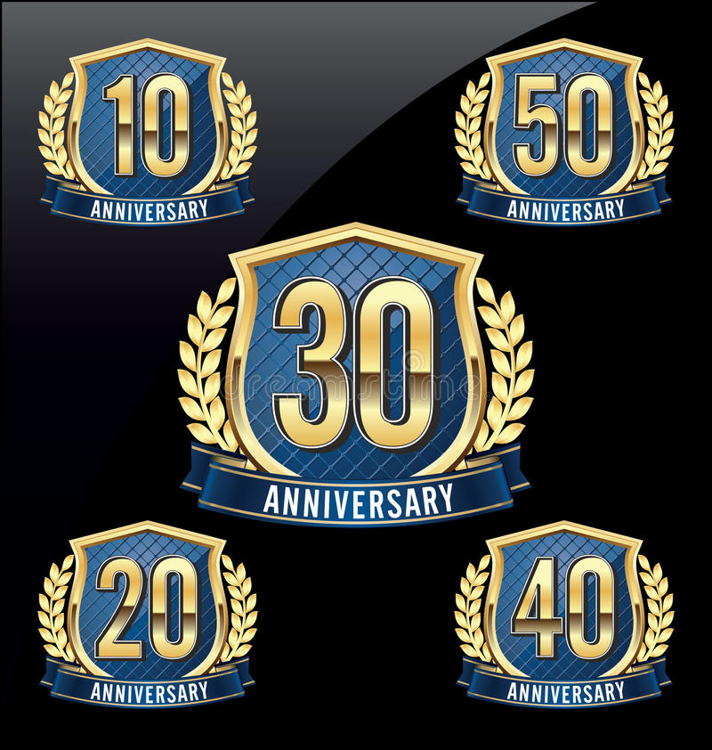 Anniversary Badge Gold and Blue 10th, 20th, 30th, 40th, 50th Years stock illustration