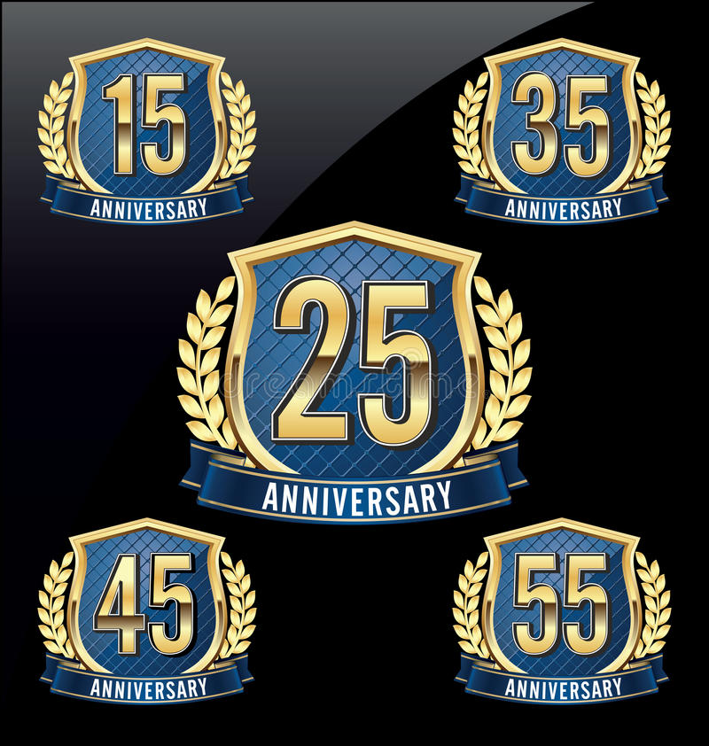 Anniversary Badge Gold and Blue 15th, 25th, 35th, 45th, 55th Years vector illustration
