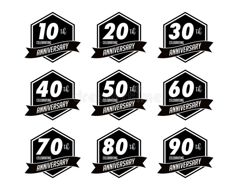 Anniversary badges. Is an art object in the form of an badges royalty free illustration