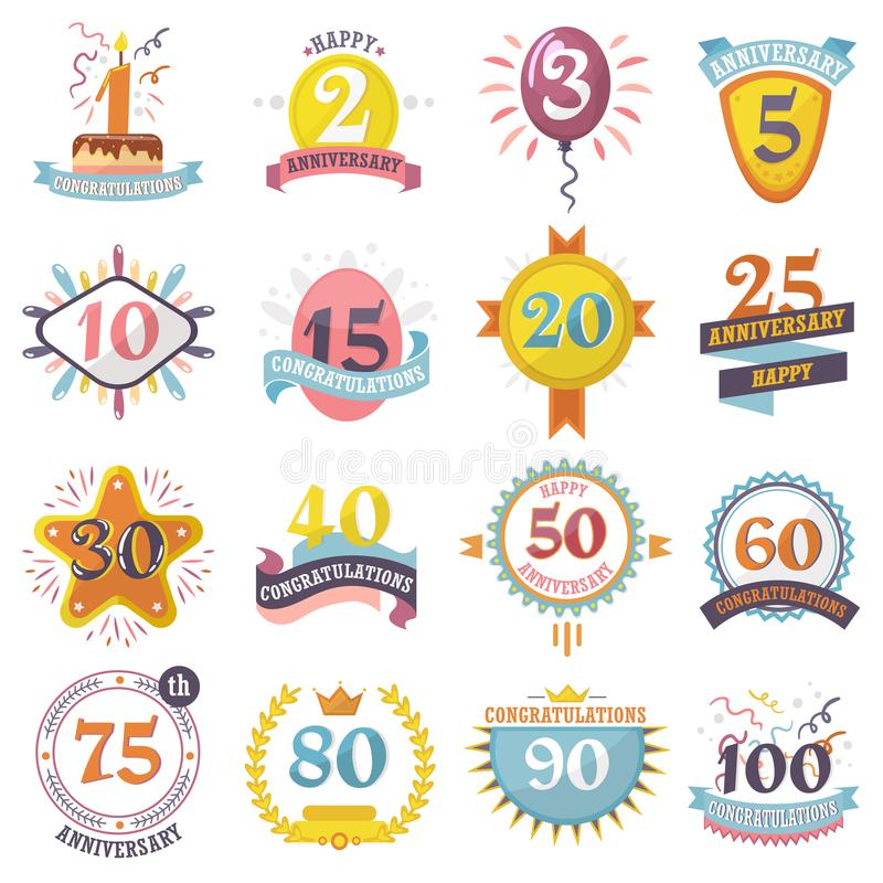 Anniversary badges set vector birthday numbers emblems holiday festive celebration birth age letter with ribbons stock illustration