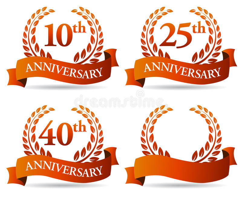 Anniversary Banner Wreath vector illustration
