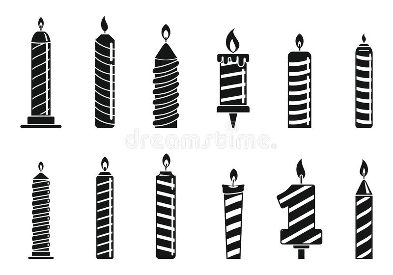 Anniversary birthday candle icons set, simple style. Anniversary birthday candle icons set. Simple set of anniversary birthday candle vector icons for web design vector illustration