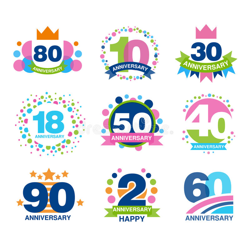 Anniversary birthdays festive signs set, ubilee elements collection vector Illustrations royalty free illustration