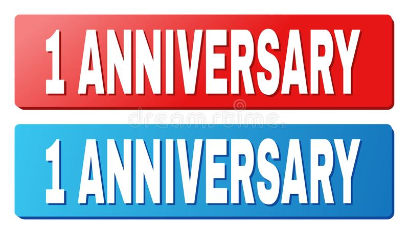 1 ANNIVERSARY Caption on Blue and Red Rectangle Buttons. 1 ANNIVERSARY text on rounded rectangle buttons. Designed with white caption with shadow and blue and stock illustration