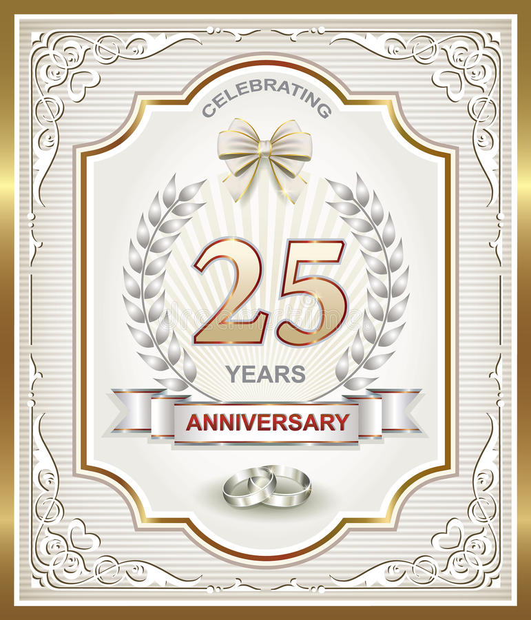 Anniversary card 25 years stock illustration