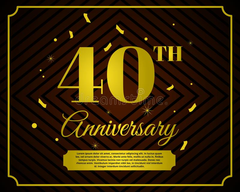 40 anniversary celebration card template royalty free illustration
