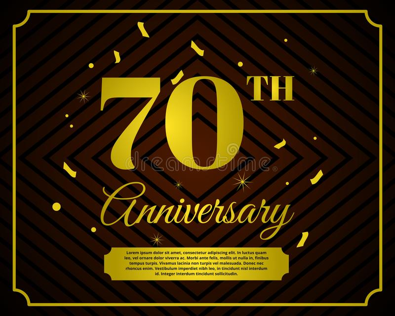 70 anniversary celebration card template royalty free illustration