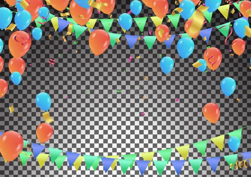 Anniversary Celebration Design, with balloons and confetti, Colo stock illustration