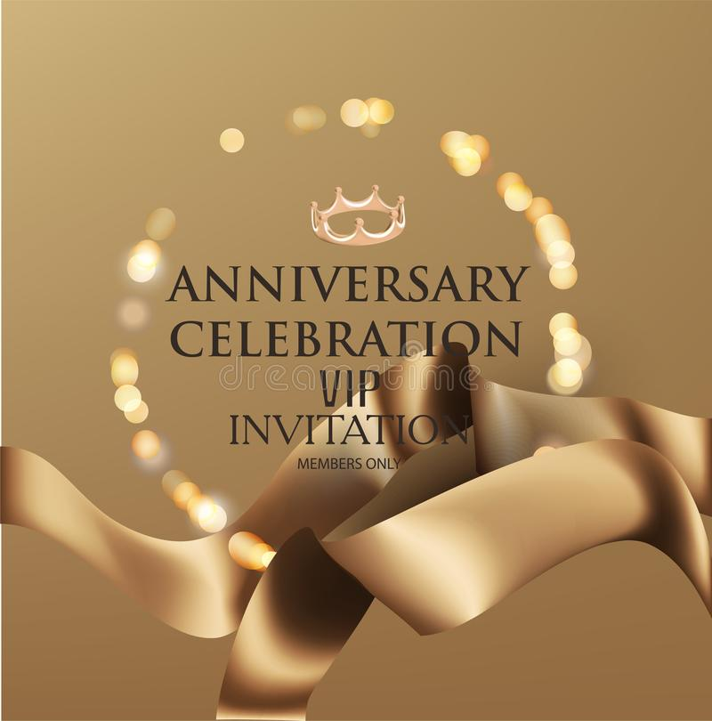 ANNIVERSARY CELEBRATION invitation card with gold realistic ribbons and defocused frame. royalty free illustration