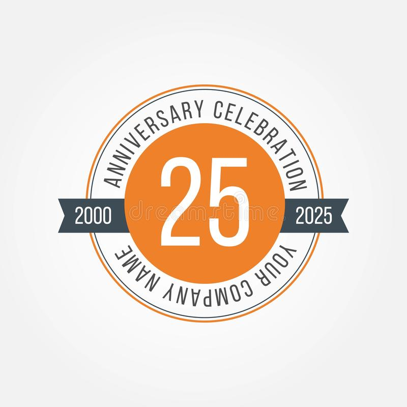 25 Anniversary Celebration Vector Template Design Illustration royalty free illustration
