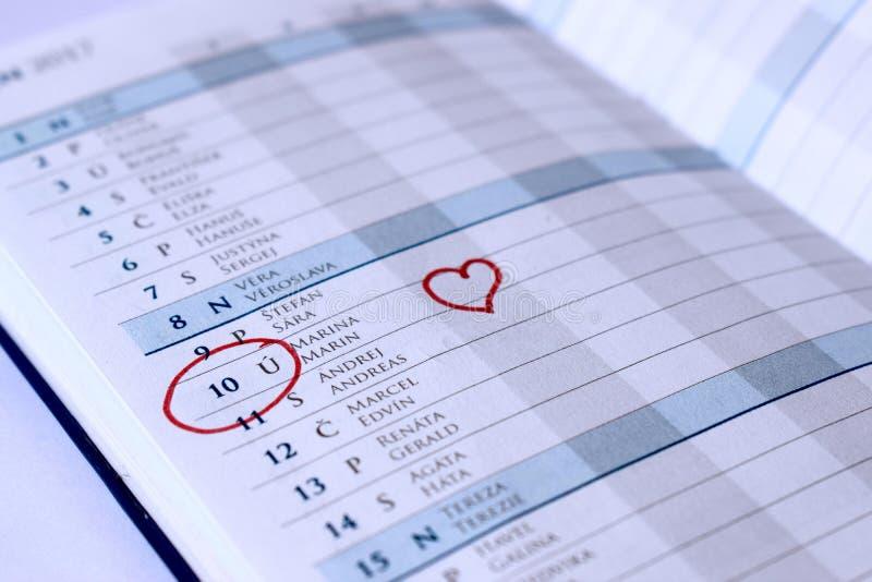 Anniversary in the diary stock photo