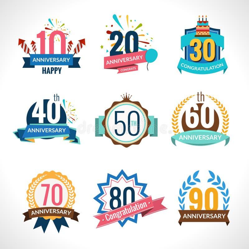 Anniversary Emblems Set royalty free illustration