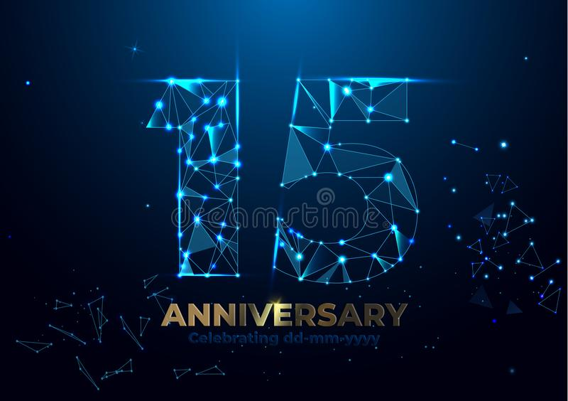 Anniversary 15. Geometric polygonal Poster template for Celebrating anniversary event party. fireworks background. Low polygon stock illustration