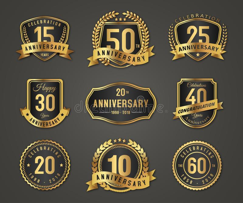 Anniversary gold badge label logo. Golden anniversary badge logo with full number on white background