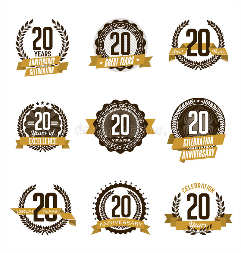 Anniversary Gold Badges 20th Years Celebrating. Vector Set of Vintage Anniversary Gold Badges 20th Years Celebrating vector illustration