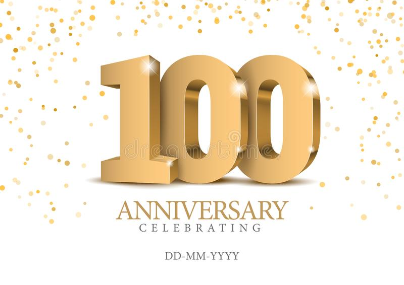 Anniversary 100. gold 3d numbers. royalty free illustration