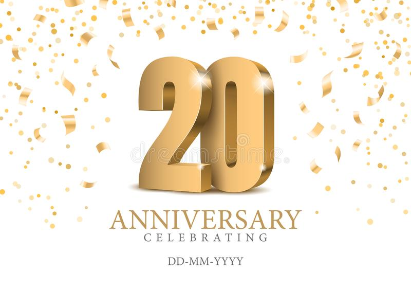 Anniversary 20. gold 3d numbers. Poster template for Celebrating 20th anniversary event party. Vector illustration vector illustration